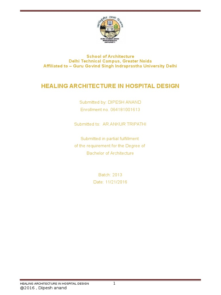 DISSERTATION ON HEALING ARCHITECTURE IN HOSPITAL DESIGN