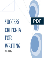Success Critera for Manual Writting