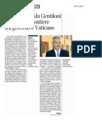 E Zac incassa da Gentiloni un ruolo di potere tra Governo e Vaticano