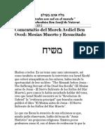 Comentario Del Moreh Avdiel Ben Oved Mesías Muerto y Resucitado