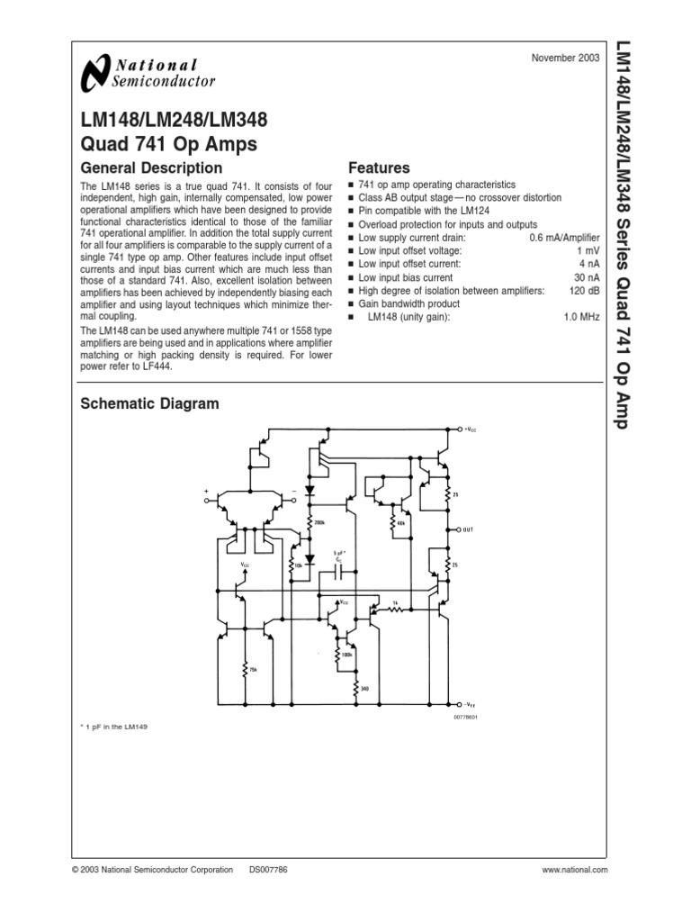 data sheet amplifier operational amplifierLm348 Quad Op Amp Circuit Diagram And Datasheet #14