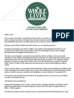 Letter Residents Sent to Whole Foods