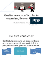 Gestionarea Conflictului În Organizaţiile Româneşti