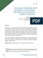Determinantes Individuales Desempeno Pruebas Estado Para Educacion Media en Colombia