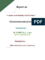 a report on profitability of icici pru