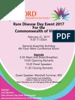Rare Disease Day Virginia 2017 Flyer