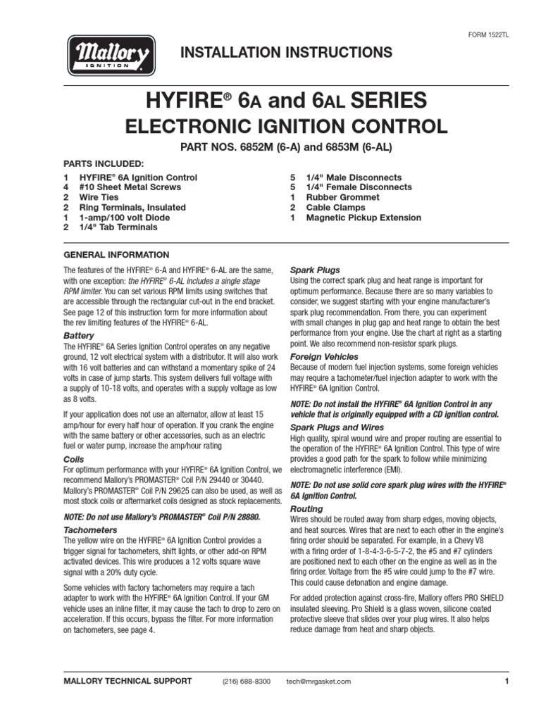 Mallory Hyfire 6853m Wiring Diagram | Wiring Diagram Centre on