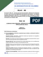 RAC 65 - Licencias Para Personal Aeronáutico, Diferente de La Tripulación de Vuelo