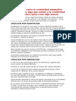 Diferencia Entre La Creatividad Adaptativa e innovacion