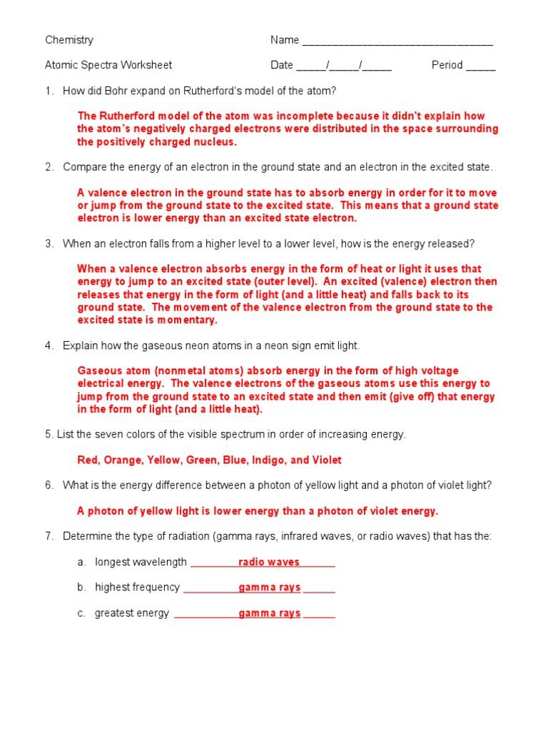 Atomic Spectra Worksheet Answer Key 05 06 Doc Electromagnetic Radiation Light