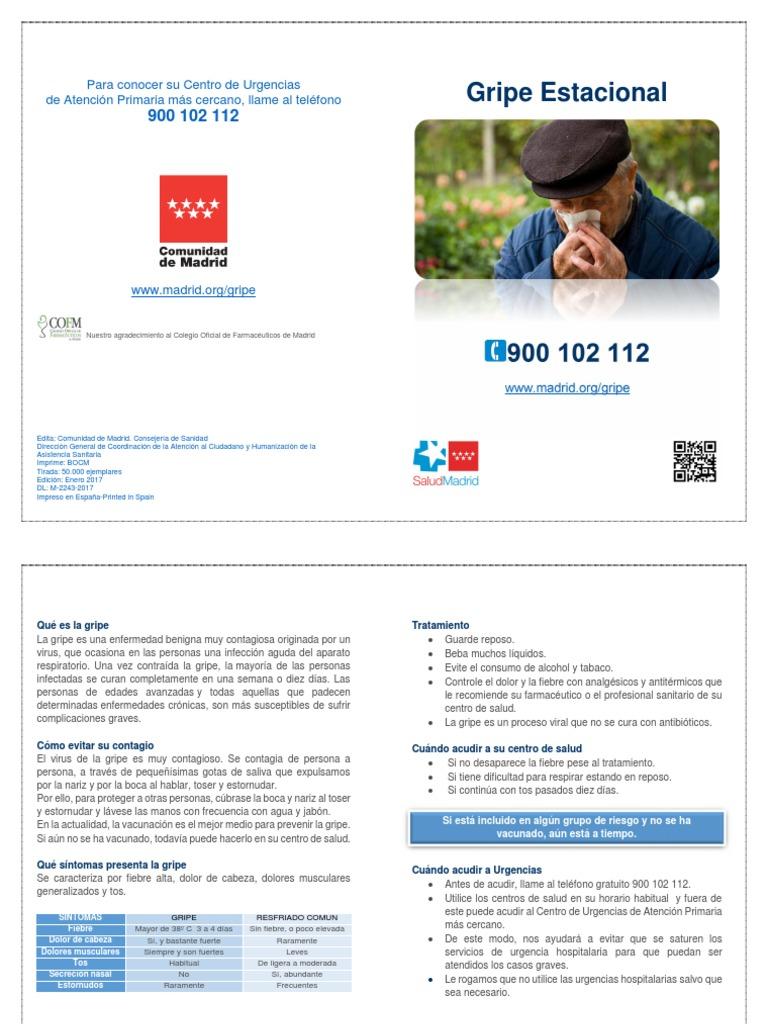 Informacion Sobre La Gripe Estacional Telefono 900 102 112