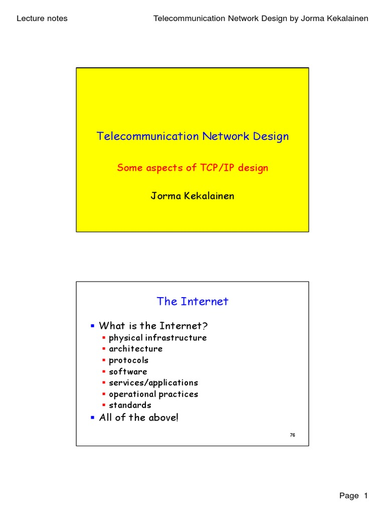 Telecommunication Network Design - Some Aspects of TCP-IP