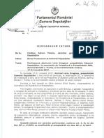 Memorandum Camera Deputatilor privind deplasarea lui Liviu Dragnea în SUA
