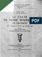 Victor Saxer, Le Culte de Marie Madeleine en Occident, tome 1