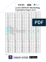 Answer Key for IBPS SO Marketing Model Question Paper 2017