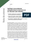 Nota de Prensa sobre  las Clausulas Suelo del Ministerio de Economía