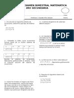 Cuarto Examen Bimestral Matemática 3ro Secundaria