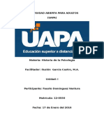 Historia de Psicología Tarea 1 Uapa