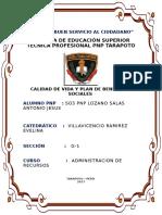 SO3 PNP Lozano Salas Antonio Jesus - trabajo N°1 de Administracion de Recursos - Calidad de Vida  y Benficios Sociles.docx