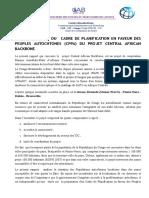 Resume ExecutifDu Cadre de Planification en Faveur Des Peuples Autochtones (Cppa) Du Projet Central African Backbone