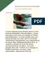 Tharpana Sankalpams for the Year 2016