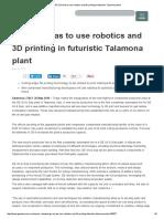 GE Oil & Gas to Use Robotics and 3D Printing in Futuristic Talamona Plant