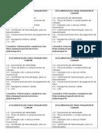 Documentação Para Passaporte Comum