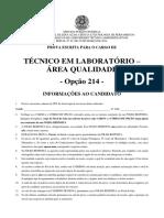 If Pe 2014 if Pe Tecnico de Laboratorio Qualidade Prova