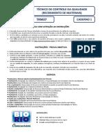 Bio Rio 2014 Nuclep Tecnico de Controle Da Qualidade Recebimento de Materiais Prova