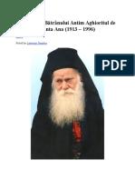 Învățăturile Bătrânului Antim Aghioritul de La Schitul Sfânta Ana