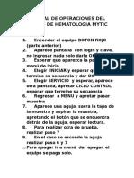 Manual de Operaciones Del Equipo de Hematologia Mytic