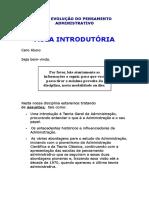 Evolução Do Pensamento Administrativo - EPA