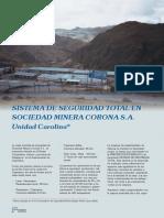 Sistema de Seguridad Total en Sociedad Minera Corona Sa