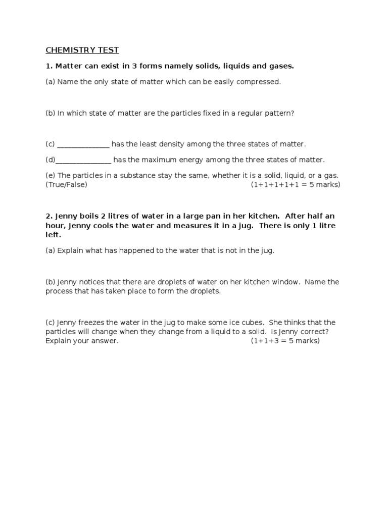 worksheet Liquids And Solids Worksheet Answers ks3 test liquids solid