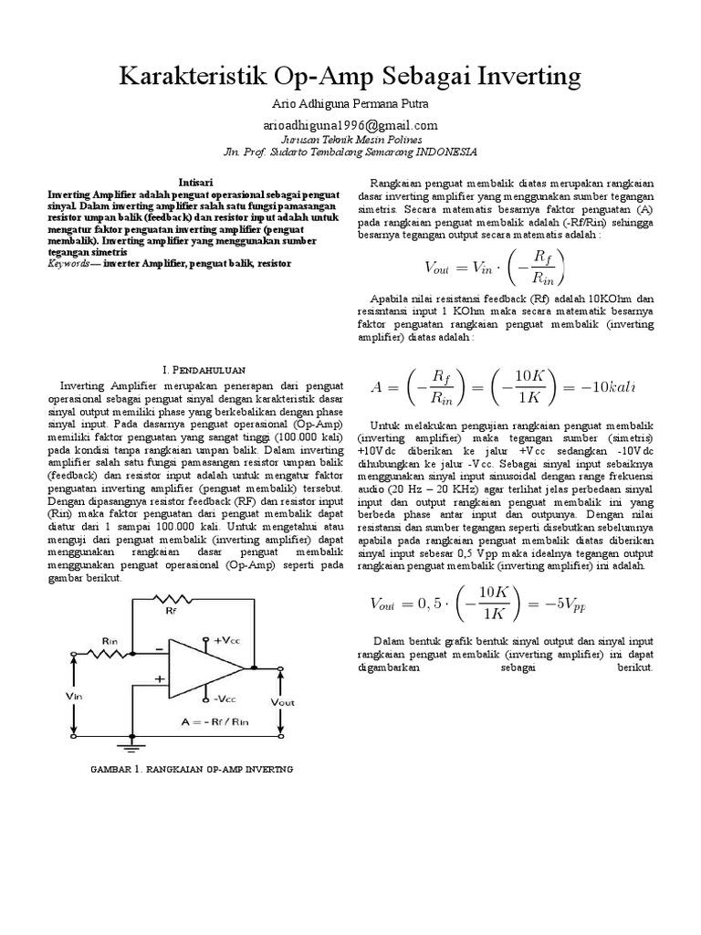 Ario Adhiguna Ms3a 08 Karakteristik Op Amp Sebagai Inverting Rangkaian Amplifier