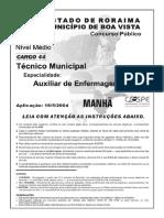 Auxiliar de Enfermagem-Estado de Roraima