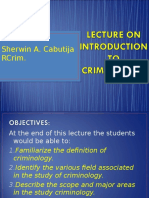 Copy of Lecture on Introduction to Criminology