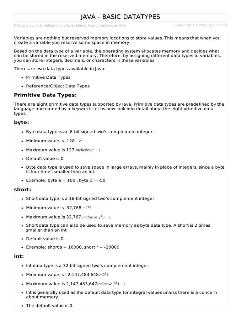 Java Basic Datatypes 6 | Integer (Computer Science) | Data Type