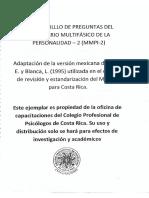 Cuadernillo de preguntas MMPI - 2