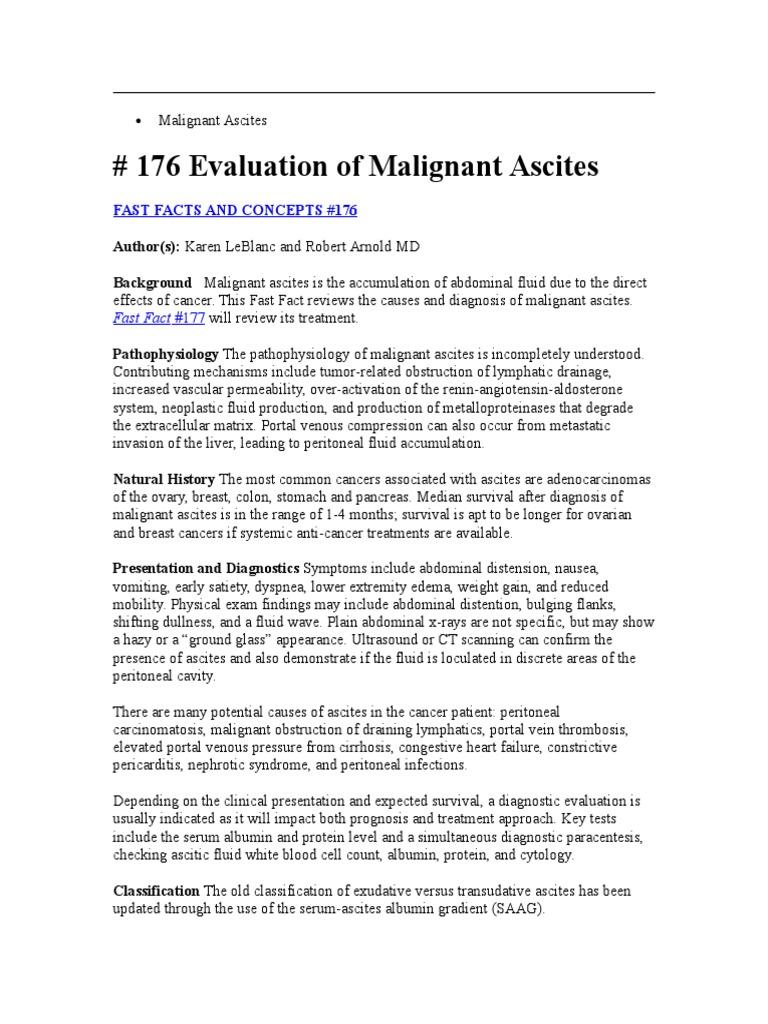 Malignant Ascites Ovarian Cancer Cancer