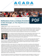 Anthony Tricoli-Reflections From a College President-When Access is Not Enough or the Significance of Academic Advising