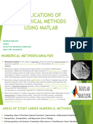 APPLICATIONS OF NUMERICAL METHODS MATLAB pptx | Numerical