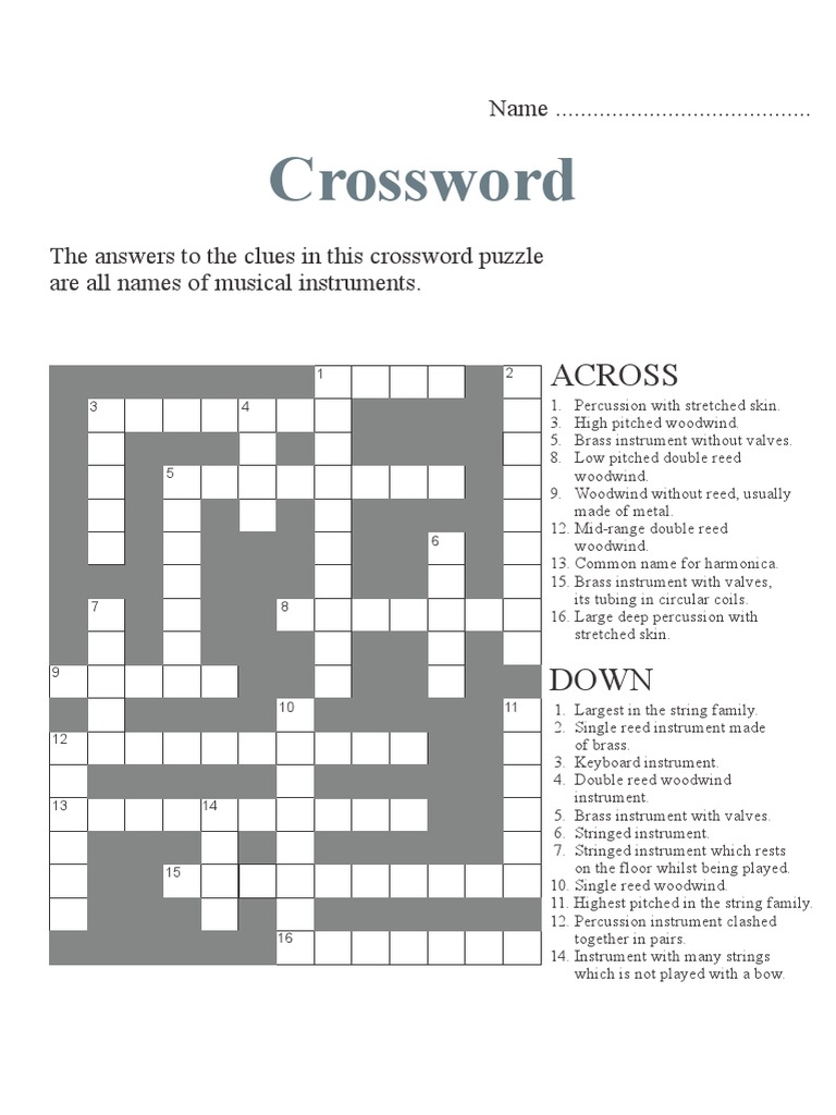 Worksheet Percussion Instruments Crossword crossword activity