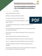 5.7 Desarrollo de Plane y Programa, Procedimientos y Presupuesto Para La Implementacion Estrategica