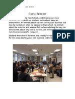 ent guest speaker career