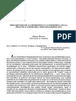 Precisiones de Lo Femenino y Lo Feminista en La Práctica Literari