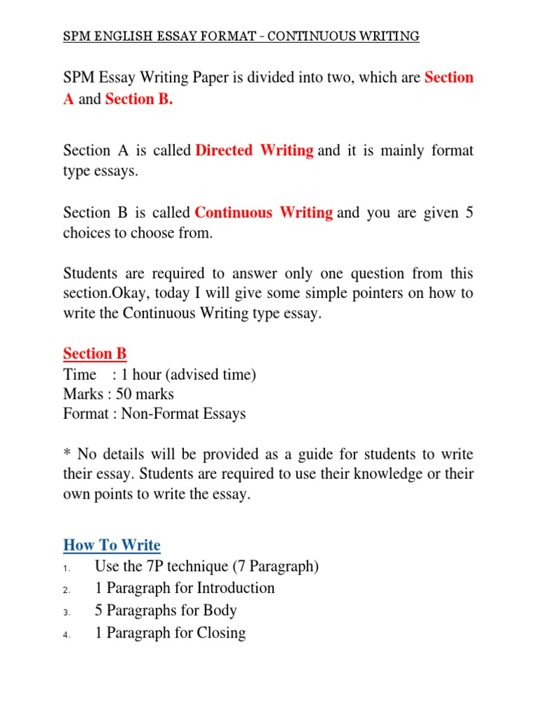 Spm English Essay Format | Paragraph | Punctuation
