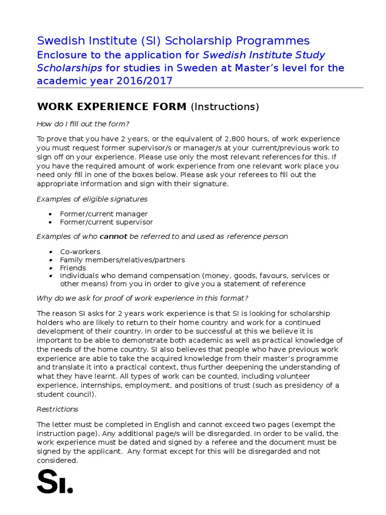 Proof of work experience template siss 2016 2017 sweden business spiritdancerdesigns Gallery