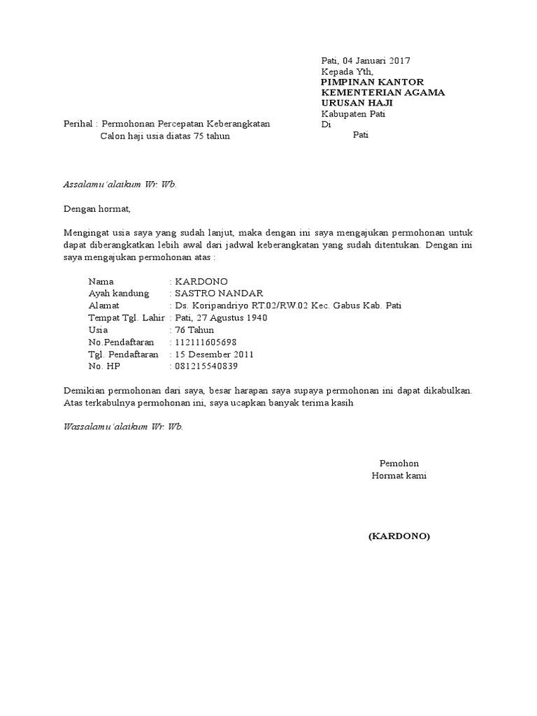 Surat Permohonan Pendamping Haji Lansia Kecemasan U
