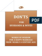Don'ts for Husbands and Wives. Words of Wisdom For a Happy Marriage.